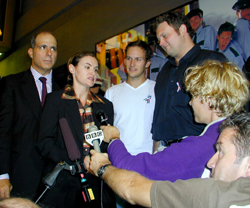 Jed Bernstein, Cristyne Lategano-Nicholas,Patrick Wilson, and John Ellison Conleetalking to reporters(Photo: Michael Portantiere)