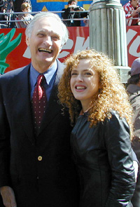 Alan Alda and Bernadette Petersin Duffy Square this afternoon(Photo: Michael Portantiere)