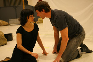 Carla Gugino and Pablo Schreiber in rehearsal for Desire Under the Elms