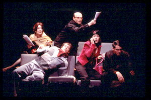 Leslie Lyles, Darren Pettie, Henry Stram, Michi Barall,and Reg Rogers in Unwrap Your Candy(Photo: Carol Rosegg)