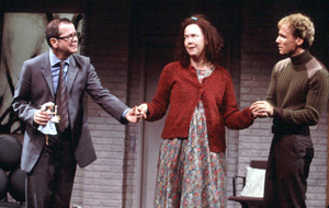Peter Bartlett, Harriet Harris, and Neal Huff in Rude Entertainment(Photo: Joan Marcus)