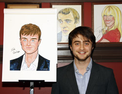 Daniel Radcliffe with his caricature
