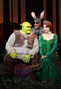 Brian d'Arcy James, Daniel Breaker, and Sutton Foster in Shrek The Musical