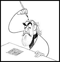 Hirschfeld depicts Hirschfeld(The Margo Feiden Galleries, Ltd.)