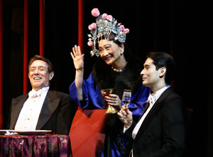 Larry Pine, Tina Chen, and Marcus Ho in The Shanghai Gesture (© Carol Rosegg)