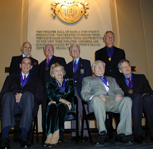 Hall of Famers (standing:) Charles Strouse, George Grizzard,Tom Dillon, Robert Brustein; (sitting:) Alvin Colt,Isabelle Stevenson, T. Edward Hambleton, Henry Hewes(Photo: Michael Portantiere)