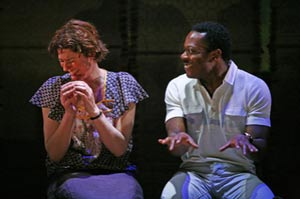 Anna Chancellor and Chuk Iwuji in The Observer