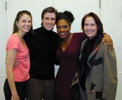 Harris with Millie co-stars (from left:)Sutton Foster, Gavin Creel, and Sheryl Lee Ralph(Photo: Michael Portantiere)