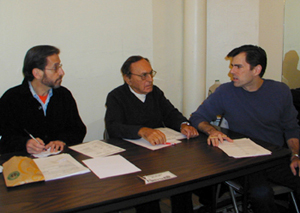 Mel Miller, Joseph Stein, and Tom Millsat auditions for So Long, 174th Street(Photo: Michael Portantiere)