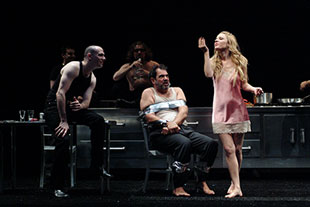 Chris Genebach, Edward Gero, and Kate Arrington in King Lear