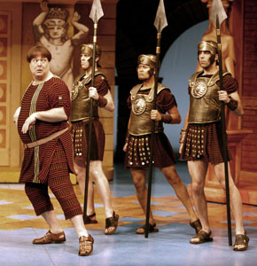 Bruce Dow and company in A Funny Thing Happened on the Way to the Forum (© David Hou)