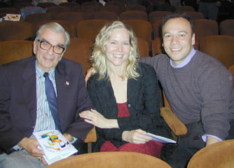 Richard Adler, Rebecca Luker, and Danny Burstein at theopening performance of The Pajama Game at Wagner College