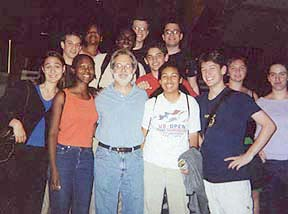 Writer John Weidman with the 2001 Urban Retreatersafter attending a performance of Contact