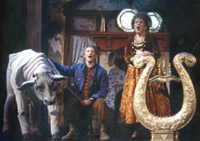 Adam Wylie as Jack (center) and Marylouise Burke as his mother (right)with Chad Kimball as Milky White (left)