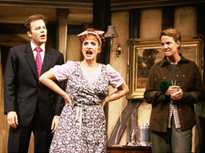 Thomas McCarthy, Patti LuPone,and Robin Weigert in Noises Off