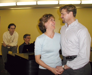 Barrett rehearsing The Pajama Game with Karen Ziemba,director John Rando, and musical director Rob Fisher