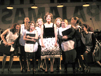 Not at all in love? Karen Ziemba and co-workers in The Pajama Game(Photo: Gerry Goodstein)