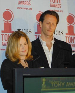 Jennifer Jason Leigh and Steven Weberannouncing this season's Tony Award nominations(Photo: Michael Portantiere)