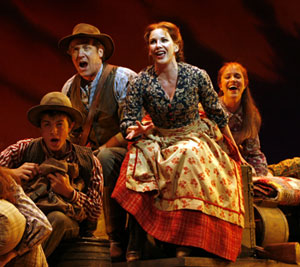 Steve Blanchard, Melissa Gilbert (center) and company in 