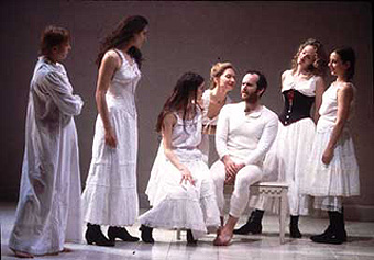 (l to r) Elzbieta Czyzewska, Julia Wilkins, Jimena Paz, Paola Styron, Denis O'Hare, Vivienne Benesch, and Erica Bergin Vienna: Lusthaus (revisited)(Photo: Joan Marcus)
