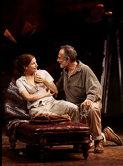 Kathryn Hahn and Ron Rifkinin the Huntington Theatre Companyproduction of Ten Unknowns
