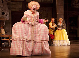 Kristine Nielsen, Brooks Ashmanskas and Rebecca Brooksher in She Stoops to Conquer (© T. Charles Erickson)