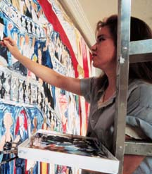 "Jessica Daryl Winer at work on her mural""Curtain Call,"" which went on display at theTimes Square Visitors Center in 1999"
