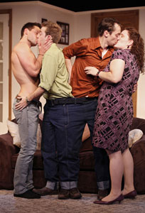 Matthew Bondy, Alex Anfanger, Kevin Thomas Collins and Maia Madison in Made In Heaven (© Carol Rosegg)