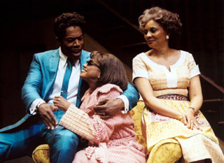 Michael McElroy, Marva Hicks, and Leslie Uggamsin Thunder Knocking on the Door(Photo: Joan Marcus)