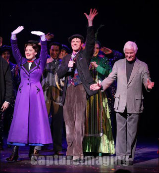 Ashley Brown, Gavin Lee, and Dick Van Dyke during the curtain call for Mary Poppins (© Ryan Miller/Capture Imaging)