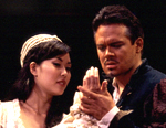 Othello (Joshua Spafford) andDesdemona (Tina Horii).