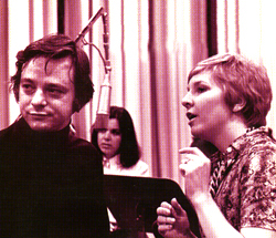 Myers with Stephen Sondheim at theCompany cast album recording session(Sony Music Photo Archives)