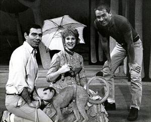 Myers as Dot in Sunday in the Park with Georgeat Long Beach Civic Light Opera in 1986,with conductor Steven Smith (l) and director Fran Soeder