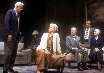 John Carter, Michael Learned, Bill Moor, Patrick Garner,and Rosemary Harris in All Over(Photo: Joan Marcus)