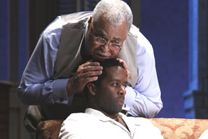 James Earl Jones and Adrian Lester in Cat on a Hot Tin Roof (© Nobby Clark)