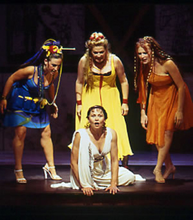 Cherry Jones (front and center) and company in Lysistrata(Photo: Richard Feldman)