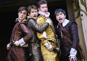 Jack Farthing, William Mannering, Phillip Cumbus, and Trystan Gravelle in Love's Labour's Lost (© John Haynes)