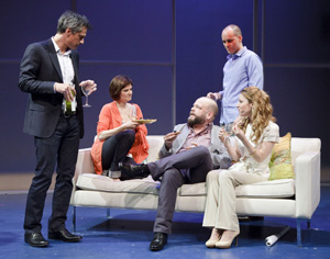 Quentin Mare, Mary Bacon, Brian Keane, Kelly AuCoin, and Kate Arrington in Happy Now? (© James Leynse)