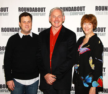 Brooks Ashmankas, Victor Garber, and Harriet Harris