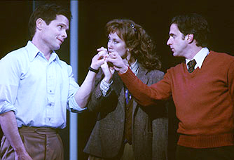 Old friends: Michael Hayden, Miriam Shor,and Raúl Esparza in Merrily We Roll Along(Photo: Joan Marcus)