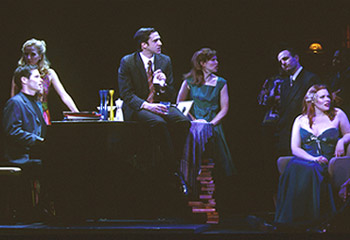 Michael Hayden, Anastasia Barzee, Raúl Esparza, Miriam Shor,Adam Heller, and Emily Skinner in Merrily We Roll Along(Photo: Joan Marcus)