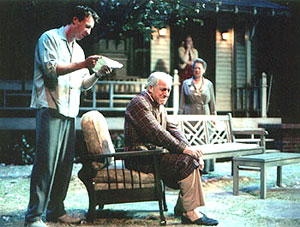 (l. to r.) Brian Hutchison, Daniel J. Travanti, Robin Pearson Rose,and Melinda Page Hamilton (in doorway) in All My Sons