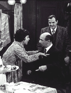 "Rosalind Russel sings ""Mr. Goldstone"" to Ben Lessyas Karl Malden looks on in the 1962 film of Gypsy