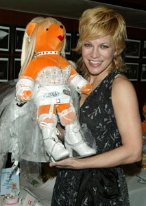 Felicia Finley with the bear representing