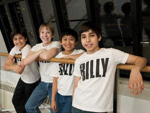 Giuseppe Bausilio, Tommy Batchelor, John Peter Viernes, and Cesar Corrales star in Billy Elliot the Musical (© Amy Boyle Photography)