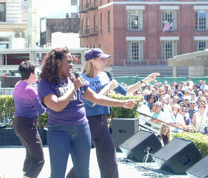 Hoty and her Mamma Mia! cohorts performing for the crowd in Union Square(Photo: Michael Portantiere)