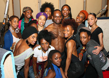 Sahr Ngaujah (center) and the company of Fela!