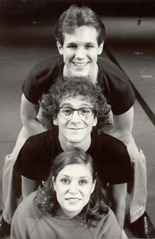 Ann Morrison (at the bottom of the totem pole)with Jim Walton (top) and Lonny Price (center)in Merrily We Roll Along (1981)