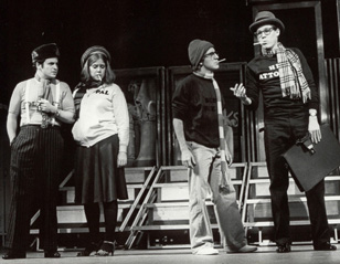 That was then: Jason Alexander, Ann Morrison, Lonny Price,and Jim Walton in Merrily We Roll Along