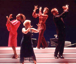 Marva Hicks, Sally Mayes, Judy Blazerand John Barrowman in It's Better With a Band(Photo: Mark Garvin)